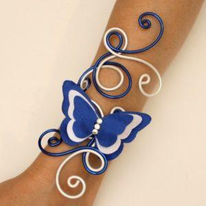 Bracelet mariage papillon bleu marine blanc
