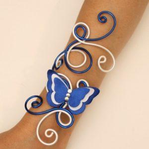 Bracelet mariage papillon blanc bleu marine