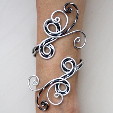 Bracelet mariage argent et noir