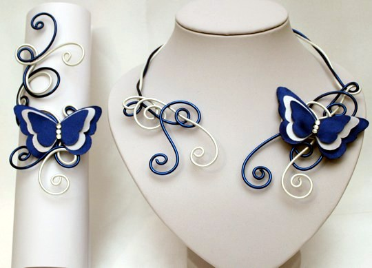 Parure mariage papillon blanc bleu