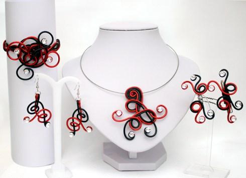 Bijoux mariage rouge et noir + strass