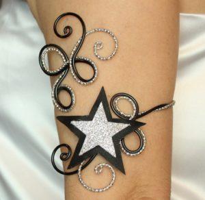 Bracelet brassard étoile du cinéma noir et argent