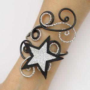 Bracelet étoile du cinéma noir et argent