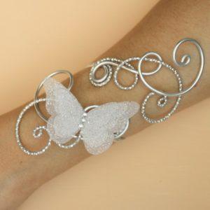 Bracelet mariage papillon argent blanc pailleté
