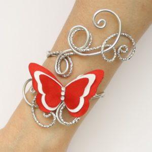 Bracelet mariage papillon rouge blanc argent