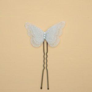 Epingle à cheveux mariage papillon argent blanc pailleté