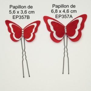 Epingles à cheveux papillon rouge et blanc