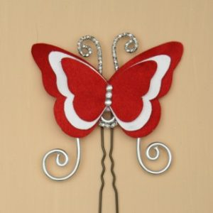 Epingle à cheveux papillon satin rouge et blanc