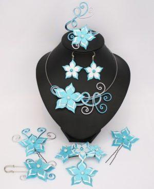 Parure bijoux mariage fleur turquoise et blanc