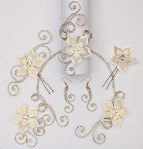 Bijoux mariage fleur or et ivoire
