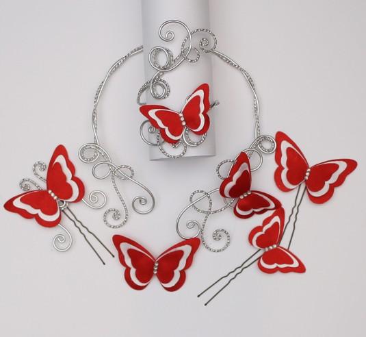Bijoux mariage papillon rouge et blanc