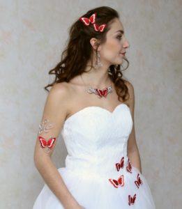 Parure mariage papillon rouge et blanc