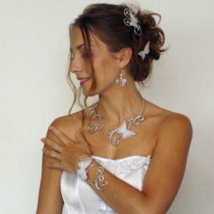 Parure mariage papillon blanc argent