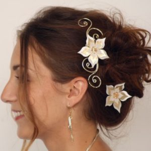 Epingles à cheveux mariage fleur ivoire champagne doré or