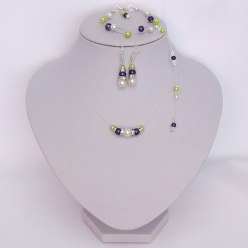 Bijoux mariage violet, ivoire et vert anis