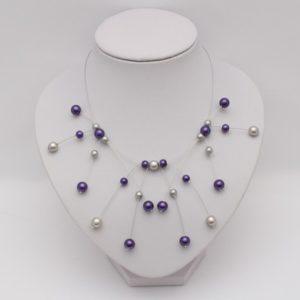 Collier mariage gris violet