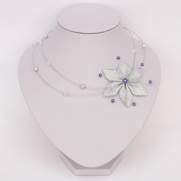 Collier mariage fleur argent violet