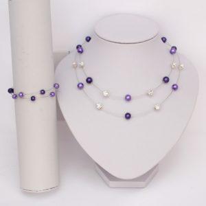 Parure bijoux mariage violet strass