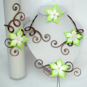 Collier mariage fleur ivoire, chocolat, vert anis