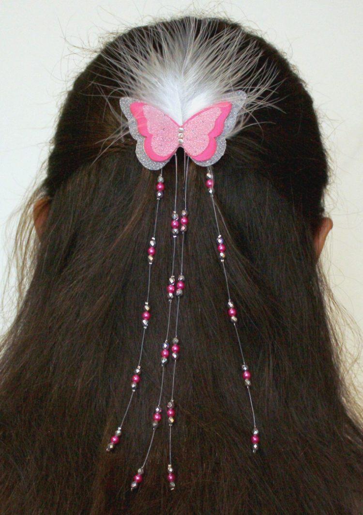 Pince à cheveux mariage papillon fuchsia blanc argent