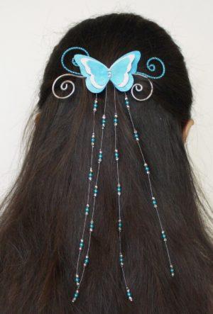 Pince à cheveux mariage papillon turquoise argent