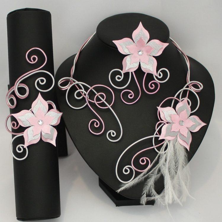 Bijoux mariage fleur rose argent