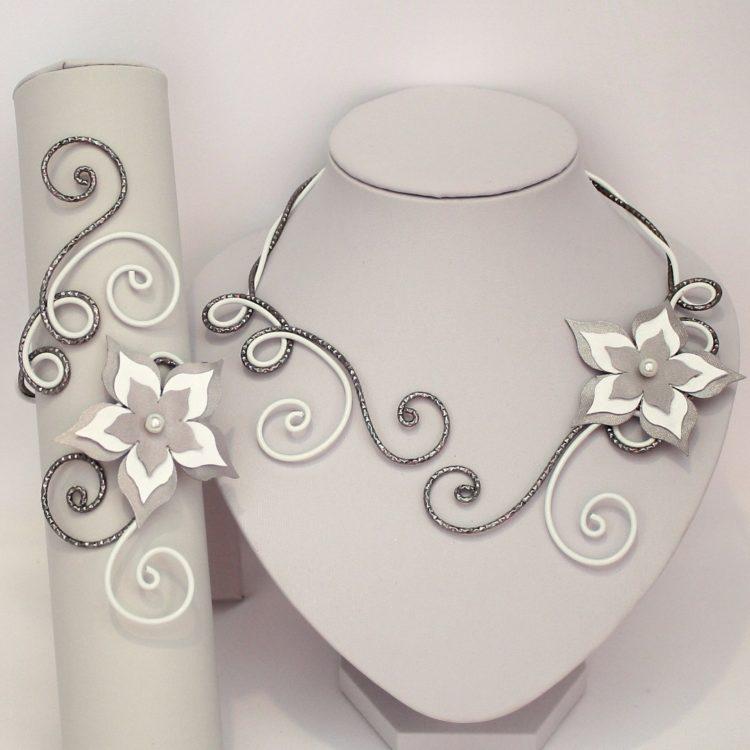 Bijoux mariage fleur blanc gris