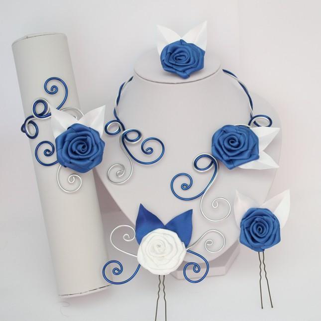 Parure aluminium fleur blanc et bleu