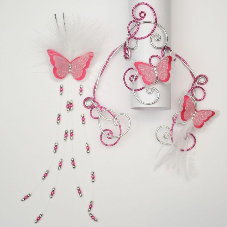 Parure mariage papillon blanc argent fuchsia