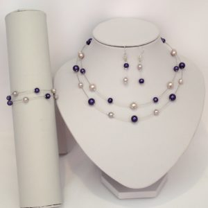 Collier 2 rangs parme violet
