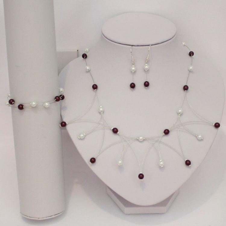 Bijoux mariage personnalisés blanc bordeux