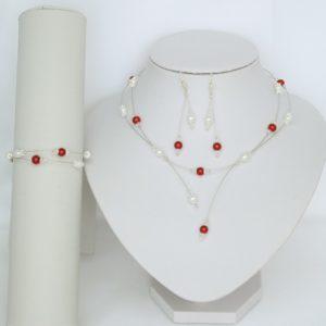 Bijoux mariage blanc et rouge