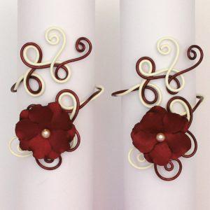 Bracelet mariage fleur bordeaux ivoire