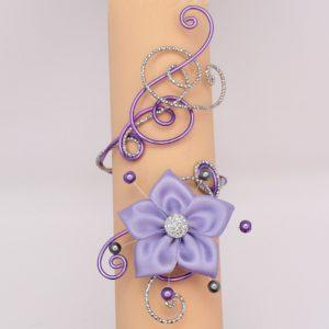 Bracelet mariage fleur parme