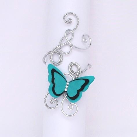 Bracelet papillon vert d'eau et noir