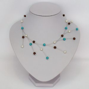 Collier ivoire clair chocolat turquoise