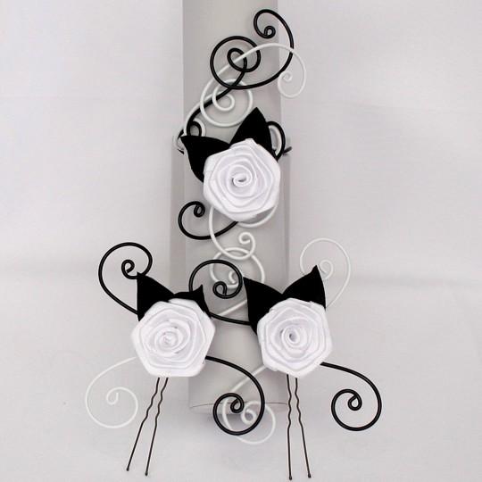 Bracelet et épingles à cheveux mariage noir et blanc