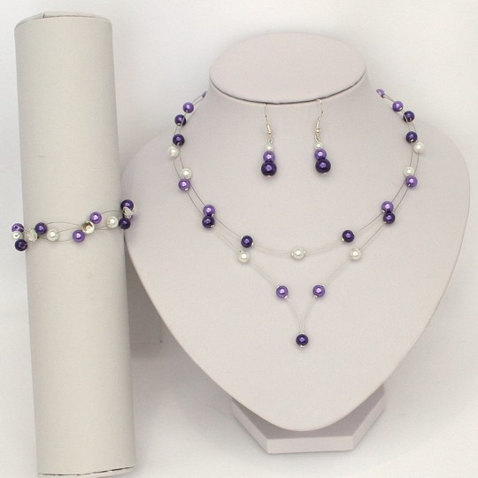 Parure mariage violet et blanc