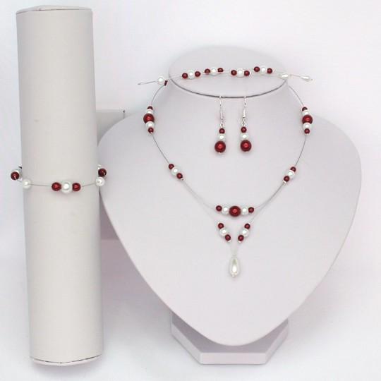 Parure bijoux blanc bordeaux