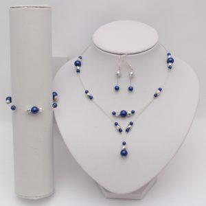 Bijoux bleu marine argent métallisé