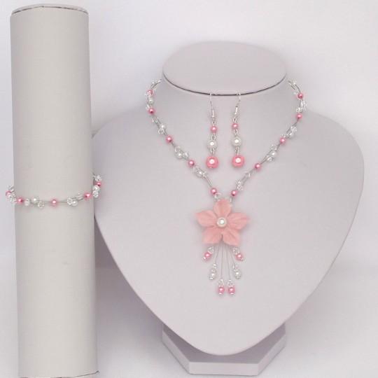 Parure mariage fleur blanc rose virginie