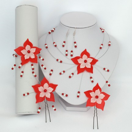Bijoux mariage fleur rouge et blanc