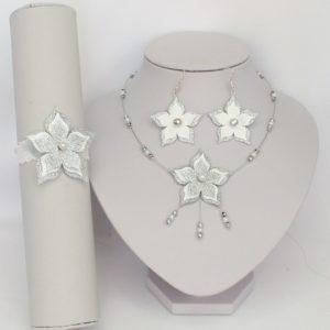 Parure bijoux mariage fleur blanc argent