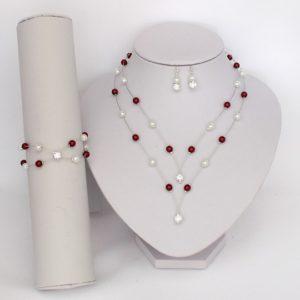 Collier et bracelet mariage bordeaux blanc