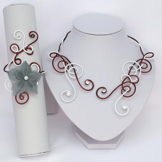 Bijoux mariage aluminium bordeaux blanc