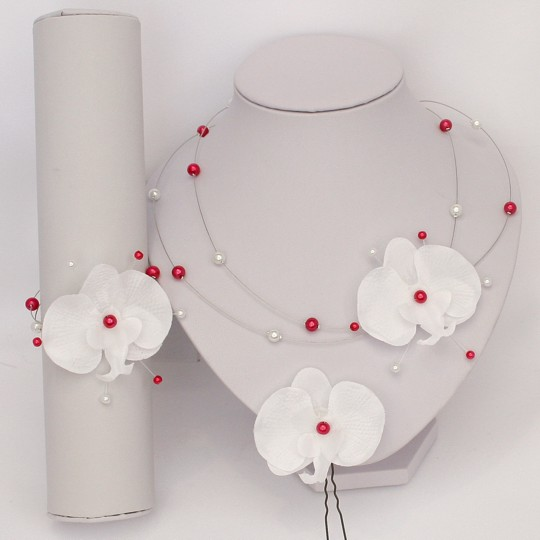 Bijoux mariage orchidée blanc rose