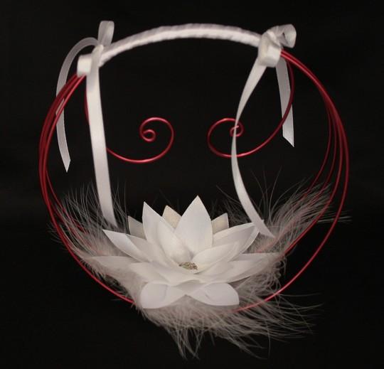 Porte alliances lotus blanc et bordeaux