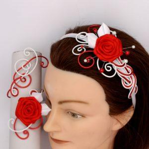 Serre-tête et bracelet rouge et blanc