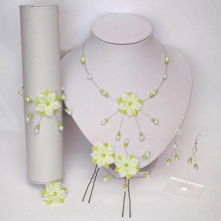 Bijoux mariage fleur blanc vert anis