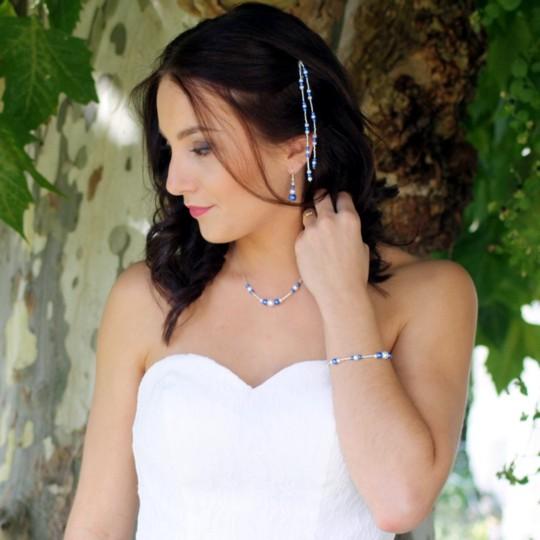 Bijoux mariage blanc bleu royal